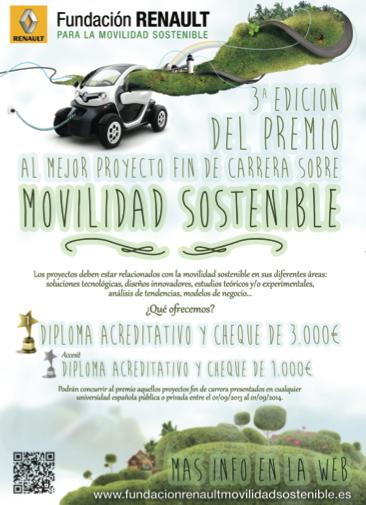 Cartel 3ª Edición Premio mejor proyecto fin de carrera sobre movilidad sostenible. Fundación Renault